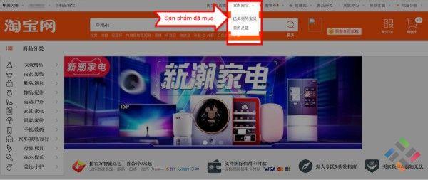 Vào mục Sản phẩm đã mua từ trang Taobao