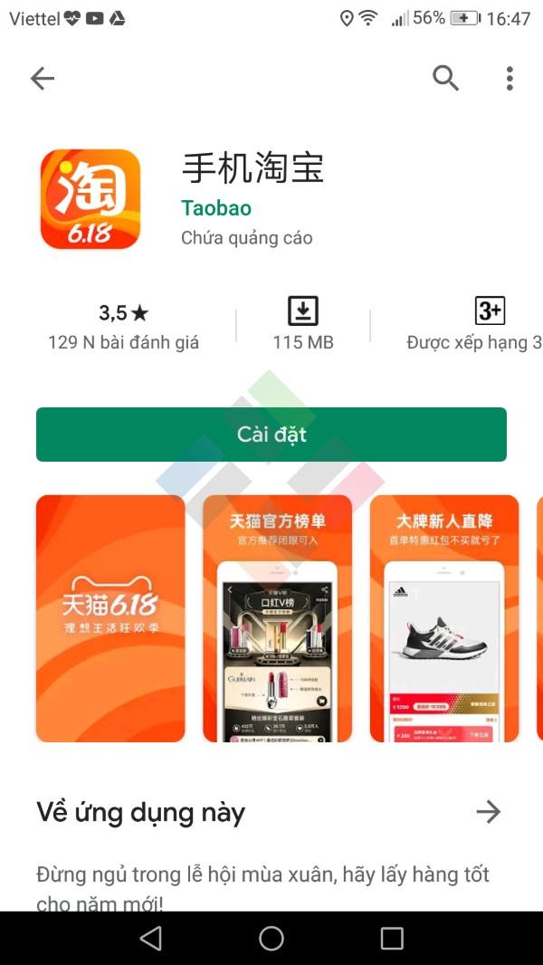 App mua hàng Trung Quốc Taobao
