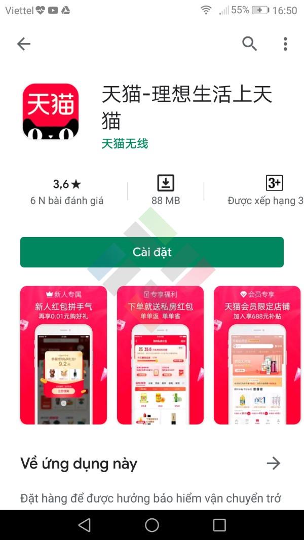 App mua hàng Trung Quốc Tmall