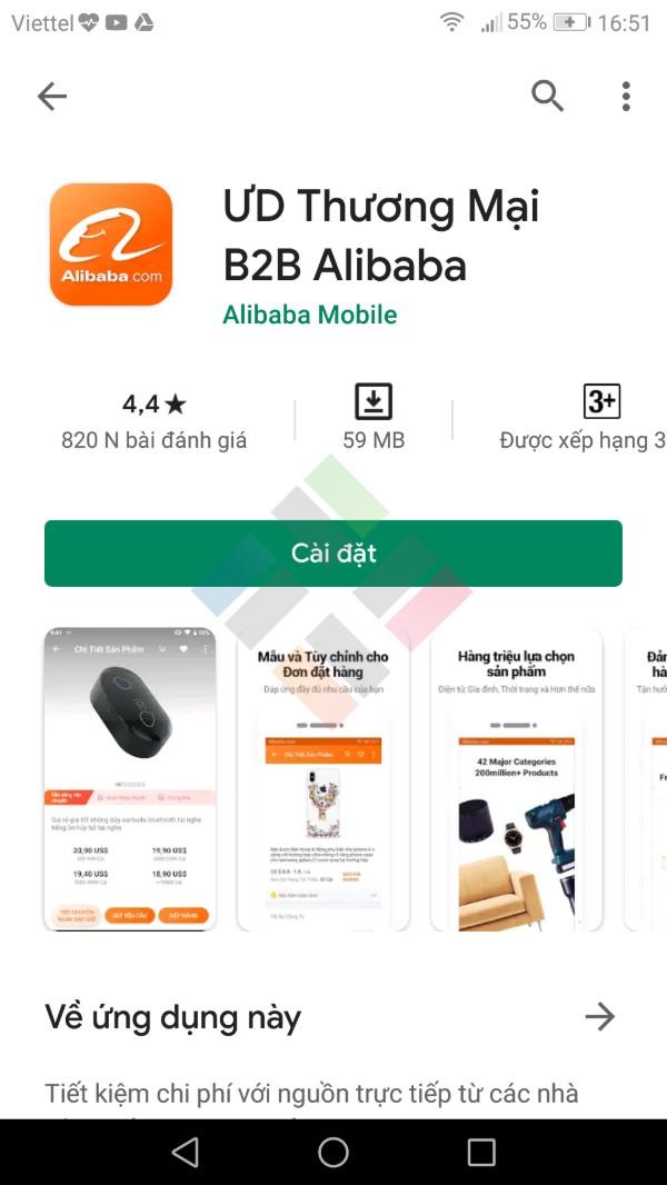 App mua hàng Trung Quốc Alibaba