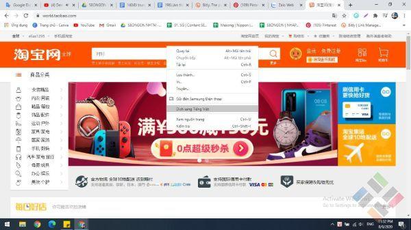 Dịch sang tiếng việc trên một trang mua sắm online