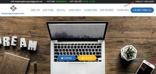 Giao diện website nhập hàng thương mại